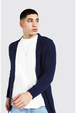 Navy Grof Gebreide Edge To Edge Cardigan
