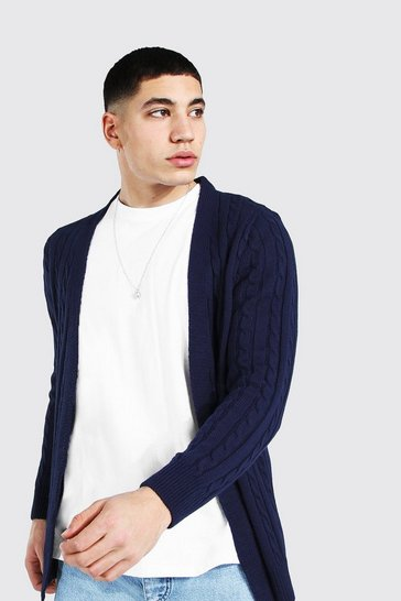 Navy Cable Edge To Edge Knitted Cardigan