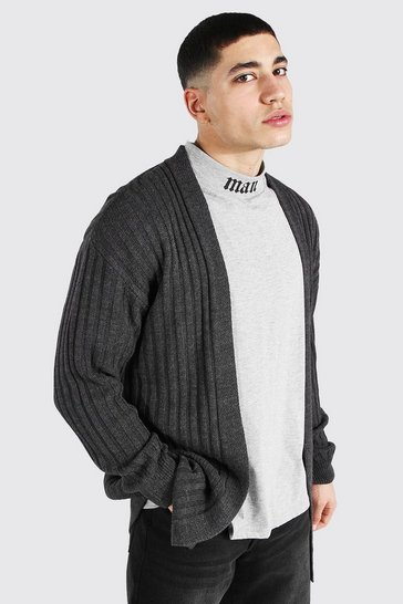 Charcoal grey Longline Ribbed Knitted Cardigan