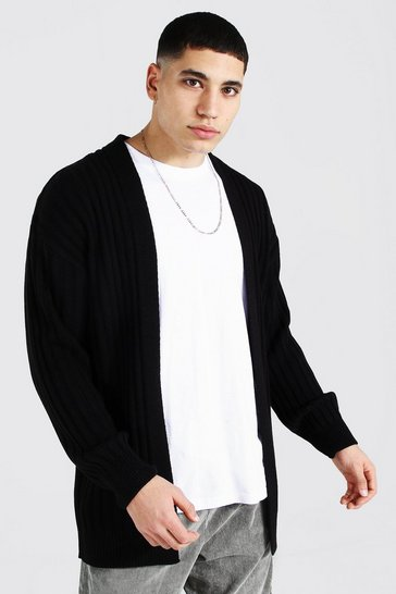 Black Longline Ribbed Knitted Cardigan