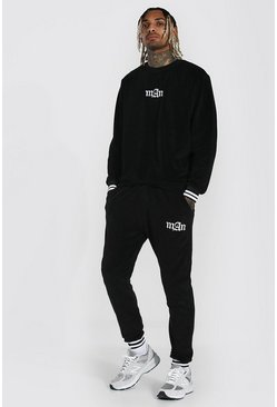Black Man Ribbed Velour Sweater Tracksuit