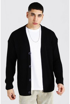 Black Loose Fit Ribbed Knit Button Through Cardigan