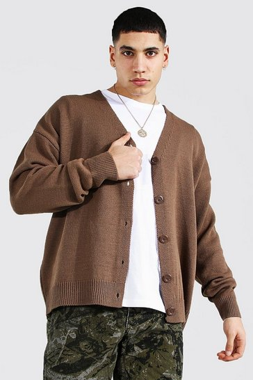 Taupe beige Oversized Button Through Knitted Cardigan