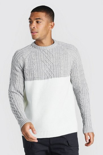 Grey marl grey Cable Spliced Raglan Knitted Jumper