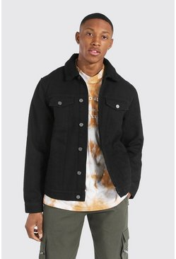 Regular Fit Borg Lined Denim Jacket , Black Чёрный