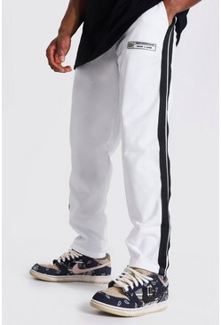 Ecru white Loose Fit Tricot Joggers With Side Tape