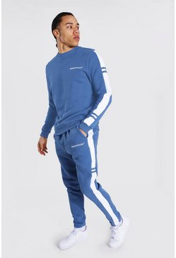 Blue Tall Man Colour Block Sweater Tracksuit