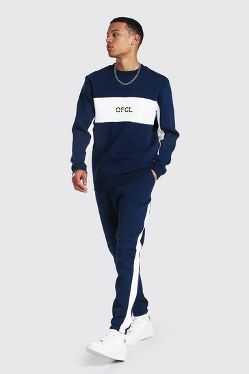 Navy Tall Official Colour Block Sweater Tracksuit