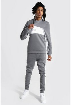 Slate grey Tall Official Colour Block Sweater Tracksuit
