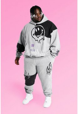 Grey marl grey Plus Size Graffiti Patchwork Tracksuit