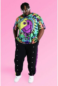 Multi Plus Size Tie Dye Tee With Popper Joggers