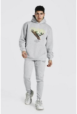 Grey marl grey Oversized Eagle Print Hooded Tracksuit
