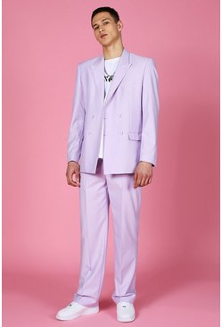 Lilac purple Relaxed Plain Double Breasted Suit Jacket