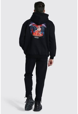 Black Oversized Man Graphic Zip Hooded Tracksuit