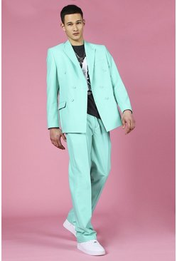 Mint green Relaxed Plain Double Breasted Suit Jacket