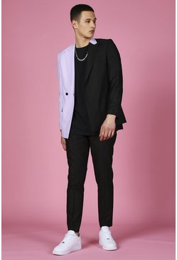 Black Skinny Spliced Double Breasted Suit Jacket