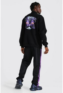 Black Oversized Graphic Funnel Neck & Tricot Jogger