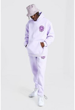 Lilac purple Oversized Drip Face Hooded Toggle Tracksuit