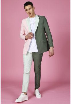 Sage green Skinny Colour Block Suit Pants