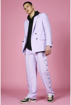 Lilac purple Relaxed Plain Popper Suit Trouser