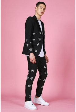 Black Skinny Bandana Embroidered Suit Jacket