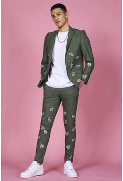 Sage green Skinny Bandana Embroidered Suit Jacket