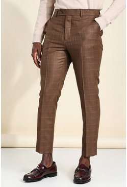 Brown Tapered Check Cropped Smart Trouser