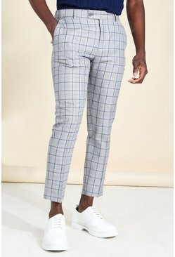 Skinny Windowpane Check Cropped Smart Trouser, Grey gris
