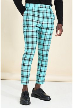 Teal green Skinny Tartan Smart Cropped Trouser