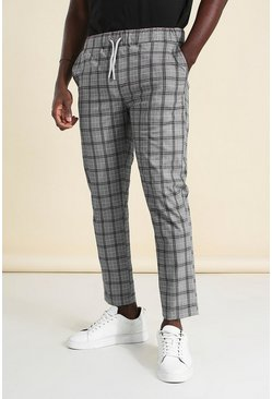 Black Skinny Windowpane Check Smart Jogger