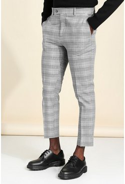Grey Skinny Check Cropped Smart Pants