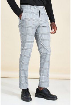 Blue Skinny Windowpane Check Smart Pants