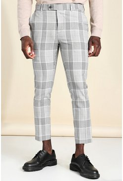 Grey Super Skinny Check Cropped Smart Pants