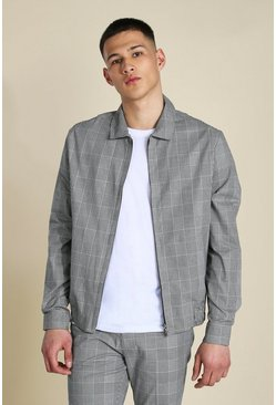 Grey Slim Check Smart Harrington Jacket
