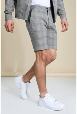 Grey Slim Check Smart Shorts