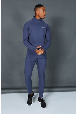 Dusty blue blue  Man Active Muscle Fit 1/2 Zip Tracksuit