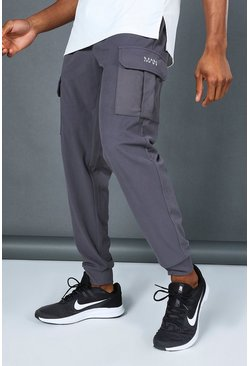 Charcoal grey Man Active Yoga Cargo Jogger