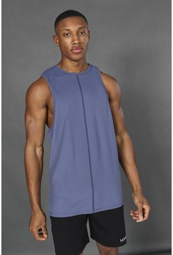 Dusty blue blue Man Active Yoga Side Split Tank Top