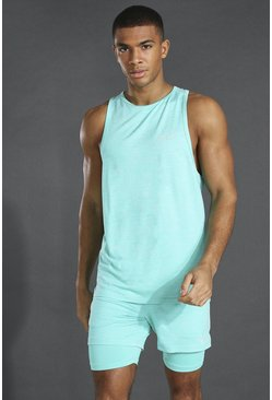 Mint green Man Active Lichte Mergel Tank Top Met Racer Hals