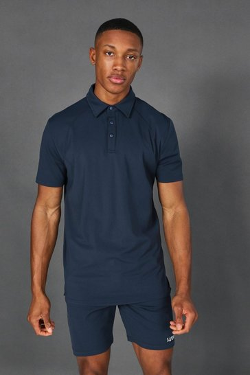 Navy Man Active Yoga Polo Top