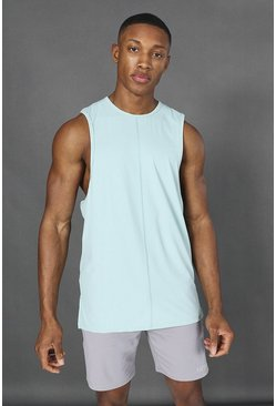 Mint green Man Active Yoga Side Split Tank Top