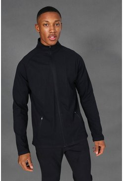 Black Man Active Premium Zip Through Track Jacket
