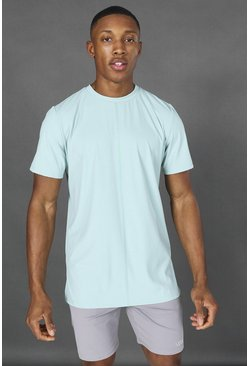 Mint green Man Active Yoga Side Split T-shirt