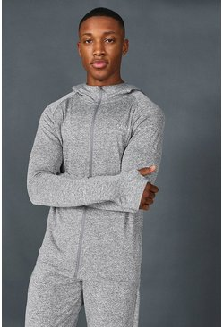 Grey Man Active Muscle Fit Yoga Zip Through Hoodie