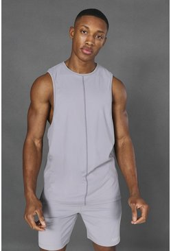 Taupe beige Man Active Yoga Side Split Tank Top