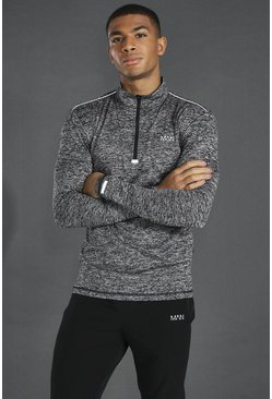 Black Man Active Lightweight Marl 1/4 Zip Top