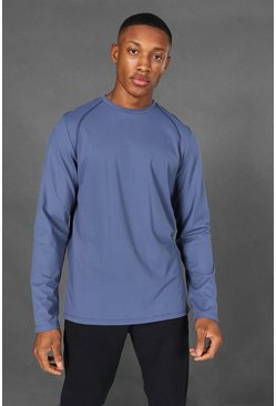 Dusty blue blue Man Active Yoga Long Sleeve Top