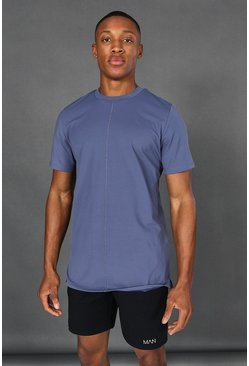 Dusty blue blue Man Active Yoga Side Split T-shirt
