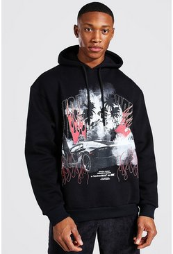 Black Oversized Car Print And Rhinestones Hoodie