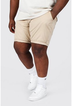 Plus Slim-Fit Chino-Shorts, Steingrau beige